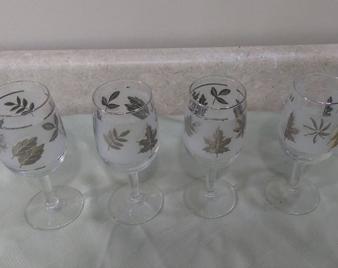 Libbey Silver Foliage Leaf Frosted Mid Century Wine Glasses Set of 4 Vintage Mid Century Barware