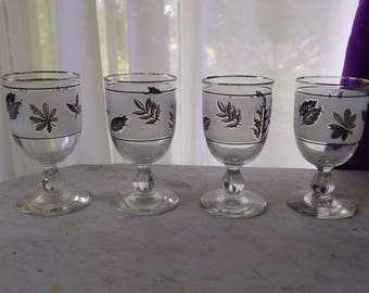 Libbey Silver Foliage Frosted Goblet Cocktail Wedding Gray Silver Leaves Frosted Leaf Glasses Mid Century Barwar Set Of 4