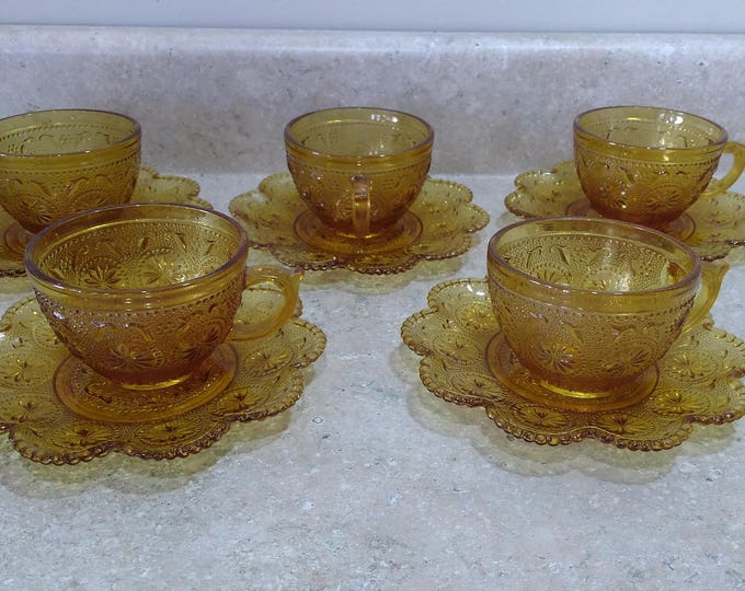 Indiana Daisy Amber Beaded Trim Beveled Edge Tea Cups and Saucers Sandwich Glass