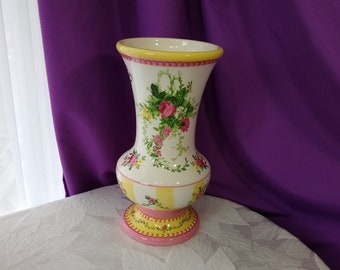 Laura Ashley FTD Vase Yellow Pink Flowers 9 inch Ceramic Floral Country Cottage Decor