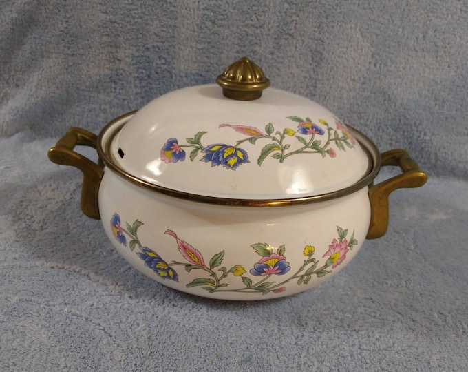 Retro Lincoware Enamel And Brass Handled Lidded Covered Casserole Dish Spring Flowers Vented Cover