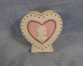 Rare Mid Century 7 Inch Vintage Heart Valentine Cameo Pink Cream Beige Ceramic Fine Quality Japan Vase  Shabby Chic Country Cottage Planter