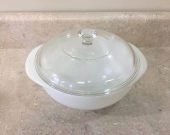 Pyrex Opal True Casserole Bowl Winter White # 023 1 1/2 Quart Mid Century