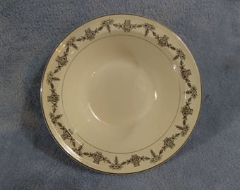 Taylor Smith And Taylor TST China Vegetable Serving Bowl Pattern 7414 Mint! Silver Ribbon Lace Border