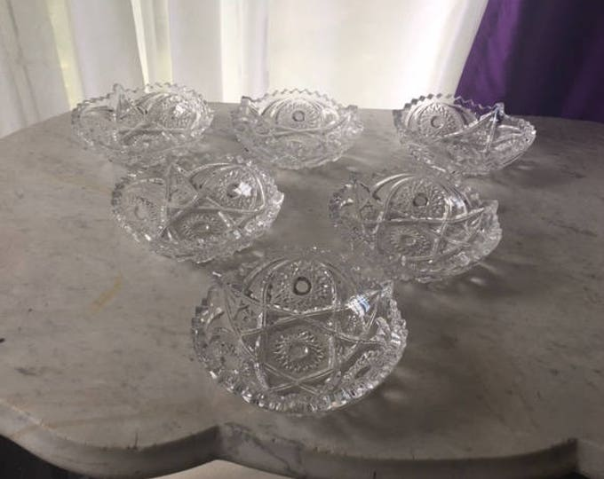 American Brilliant Cut Pinwheel Clear Pressed Glass Salad Dessert Bowls Set of 6 McKee Imperial ? Replacement Collectible Depression Glass