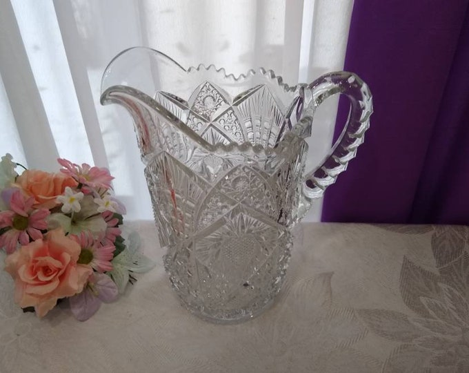 Imperial Glass Nucut Water Pitcher # 522  EAPG Circa 1914-15  EAPG American Brilliant Pressed Glass