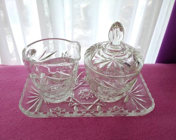 Anchor Hocking Prescut Creamer And Covered Sugar Set With Tray Star Of David Clear Pressed Cut