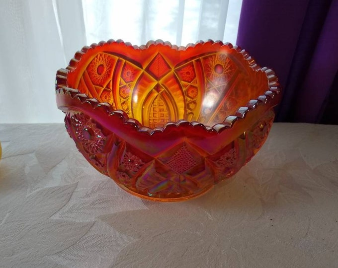 Lustre Rose Marigold Imperial Bowl Iridescent Carnival Bellaire Hobster Arches Sawtooth Rim  Console Centerpiece 9 Inch