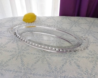 Candlewick Celery Dish Imperial Glass Rare Beaded Oval Handled Serving Dish Pickle Fine Dining Oblong Clear Open  Depression Glass Nice!