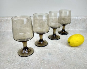 Rock Sharpe Tawny Brown Water Goblets Wine Glass Set Of 4