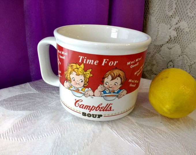 Time For Campbell's Soup Mug 1998 Large Coffee Mug Collectors Coffee Cup Boy & Girl Eating Soup At Table