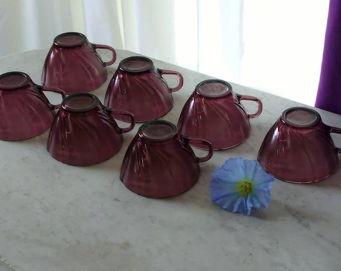 Set Of 7 Vereco France Amethyst Purple Swirl Glass Tea Cup Retro 80's