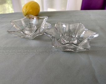 Hazel Atlas Star Shape Glass Candlestick Taper Holders Affordable Gift Office Gift Mid Century Patriotic 5 Point Star