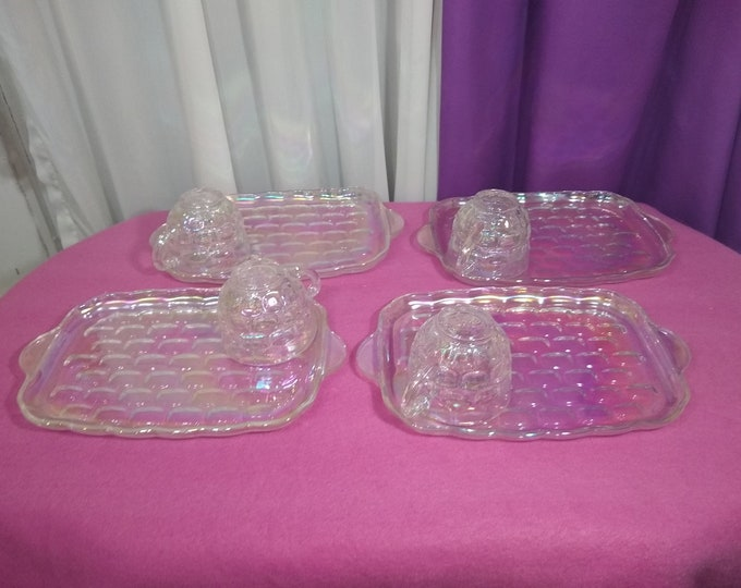 Vintage Federal Yorktown Jubilee Colonial Carnival Iridescent Bubble Glass Mid Century Luncheon Snack Set for 4  Rainbow