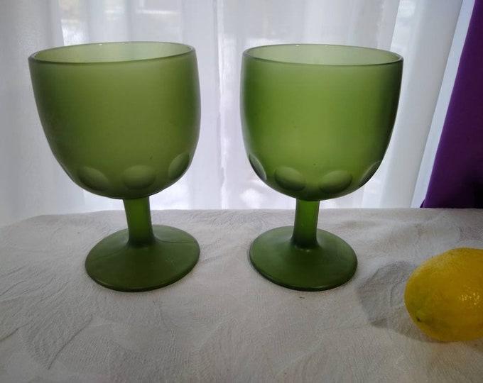 Bartlett Collins Schooners Satin Green Glass Goblets (2) Thumbprint Coin Dot Stemmed Water Planter Glasses Centerpiece Vase Compote