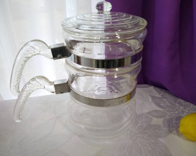 McKee Double Boiler Clear Glass Pan  RARE 31 U McKee Kitchen Tec Range Tek  Glasbake Glass Double Boiler Complete Set Rare