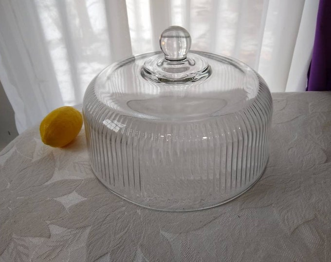 Anchor Hocking 2 in One Cake Cloche Cover And Punch Bowl Replacement Clear Glass Ribbed Retro 70's Cover Only Serveware