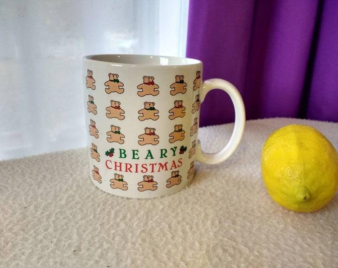Vintage Beary Christmas Ceramic Mug Teddy Bear Collectible Russ Berrie Mug Made In Korea Christmas Holiday Mugs Hot Chocolate Collectible