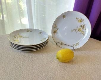 Style House Yellow Bramble Fine China Set Of 6 Salad Plates 7.5 Diameter Montgomery Ward Yellow Rose Plate Formal Dining Gold Trim Rim Japan