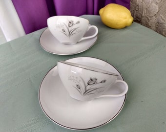 Creative Royal Elegance Tea Cups Set Of 2 Gray Flower Silver Trim Japanese Pocelain China Retrp 1960's Replacement Affordable Gift Tea Party