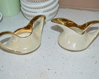 Homer Laughlin Sugar and Creamer 22 K Gold Pearl Iridescent Lusterware Set 70 ~ 71 ~ Mid Century ~ Atomic China