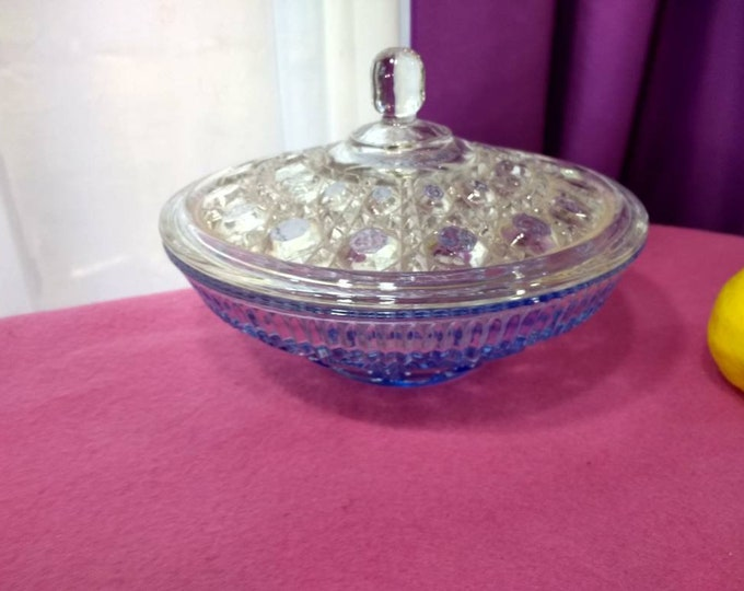 Federal Windsor Candy Dish Ice Blue With Matching Glass Clear Lid