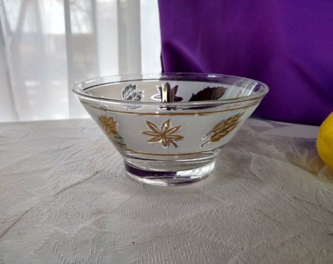 Libbey Vintage Gold Leaf Foliage Dip Bowl Replacement Bowl For Chip And Dip Bowl Set Entertaining Frosted Gold Leaves