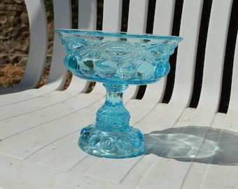 Azure Sky Ice Blue Clear Glass Compote Candy Dish Planter Centerpiece Wedding Decor