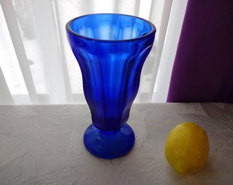 Anchor Hocking Cobalt Blue Ice Cream Soda Glass Vintage Fountainware Tall Tulip Sundae Dish Parlor Footed Bud Vase Shake Malt Soda Glass