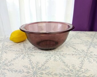 Corning Pyrex Cranberry Clear Glass Visions Mixing Bowl  # 322 1 Quart Bowl Vision Ware