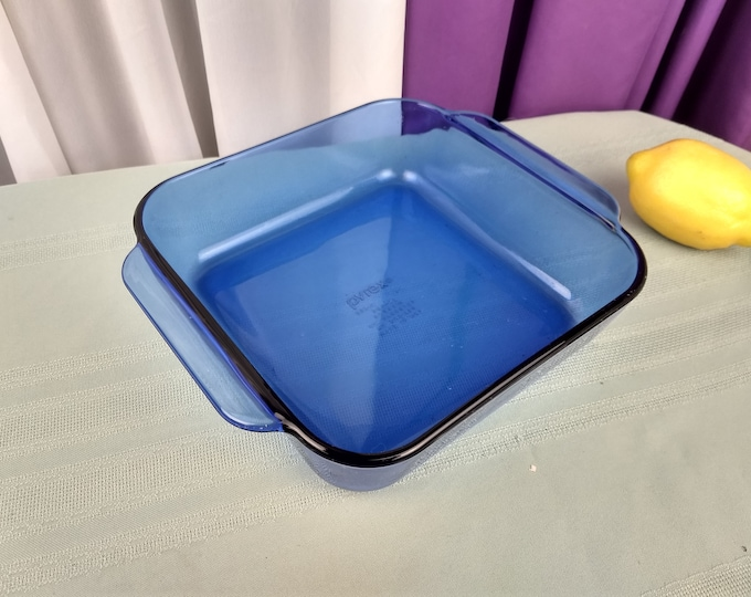 Pyrex Cobalt 222 R Brownie Pan Visionware Visions Blue 8 Inch Square Glass Casserole Baking Dish Retro 80s Kitchen Bakeware Originals