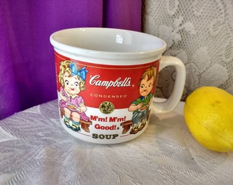 Campbell's Soup Mug Boy And Girl On Bench Blue Ribbon 1983 Westwood