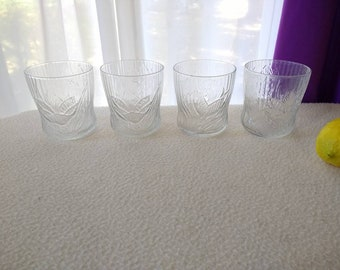 Arcoroc Canterbury Crocus Glasses Set Of 4 Luminarc Floral Textured Whiskey Cocktail Barware Drinkware Tumblers