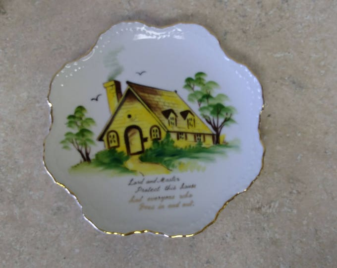 "Lefton Porcelain Vintage Yellow House ""Bless This House"" Collectible Wall Hanging Plate Retro Mid Century Decor"