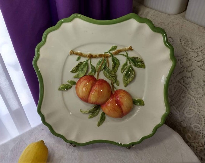 Hand Painted Ceramic Fruit Embossed Plate By Valerie Parr Hill Collection 3 Dimensional Peach Wall Plate ~ Peach Decor Fruit Motif Kitchen