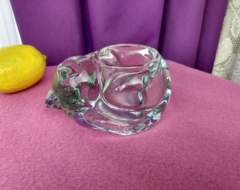 Cat Votive Clear Glass Indiana Sleeping Kitty Candle Holder Art Glass