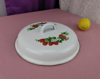 Strawberry Enamel Replacement Lid 9 1/4  Inch Lid