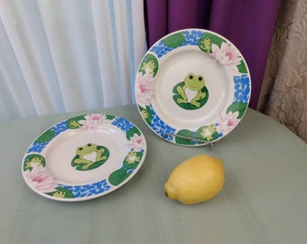 Tienshan Frog On Lily Stoneware Salad Plate Set of 2 Collectable Replacement China GrandesTreasures