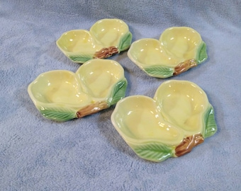 Set of 4 Vintage Yellow Pear Ceramic Dessert Plates Condiment Side Dishes Belmar USA Pottery Yellow Kichen Fruit Motif Country Kitsch