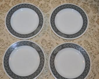 Vintage Pyrex Corning Decor 704 Tableware Grecian Gray Laurel 6 3/4 Inch Heavy Milk Glass Bread And Butter Plate ~ Restaurant Ware