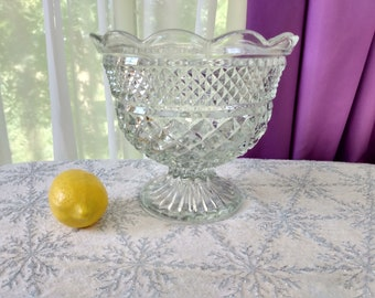 Large Wexford Footed Bowl Anchor Hocking Centerpiece Statement Piece Beveled Rim Affordable Wedding