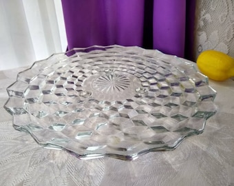 Fostoria America Clear Footed Cake Plate  2056 Pattern Indiana Colony Whitehall Serving Platter Jeannette Cubist Affordable Wedding 12 Inch