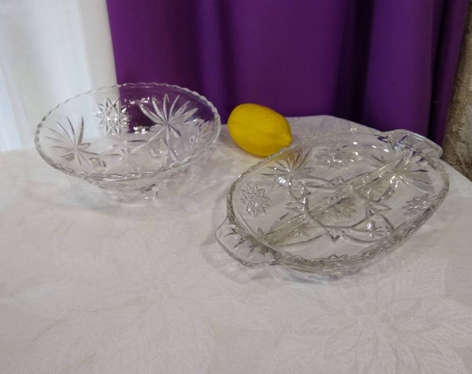 PrescutStar Of David Divided Dish And Footed Candy Bowl  Anchor Hocking Retro 60's Entertaining Faux Crystal Affordable Dining Serving Ware
