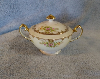 Vintage Royal Embassy Fine China Lincoln Pattern Sugar Bowl Excellent Cream Floral Gold Trim