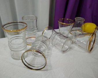 Anchor Hocking Gold Trim Cocktail Cordial Glass Set Of 8 Mid Century Footed Shot Glasses And Tumblers Clear With Double Gold Strip Mad Men