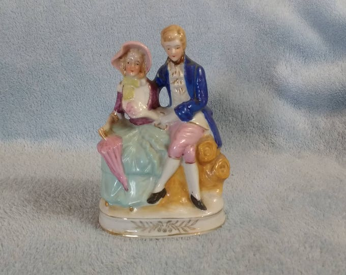 Porcelain Victorian Figurine Courting Sitting Couple Blue Pink Figurine Hand Painted Gold Gilt Japan
