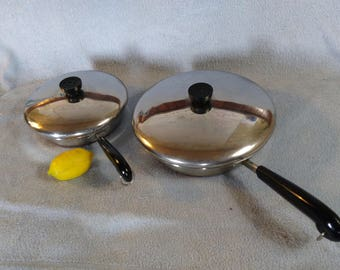 Set Of 2 Revere Copper Clad Stainless Steel Skillets With Covers Two Fry Pan And Lids 8 Inch & 10 Inch