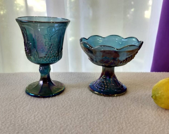 Indiana Cobalt Blue Colony Harvest Grape Iridescent Carnival Glass Goblet And Candlestick