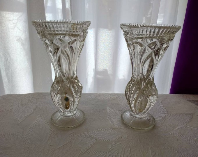 Matching Austrian Bud Vases  1 With Tag Small Cut Glass Style Austria Ornate Ribbed Beveled Trumpeted Mouth Heavy Classic Petite Clear Pair