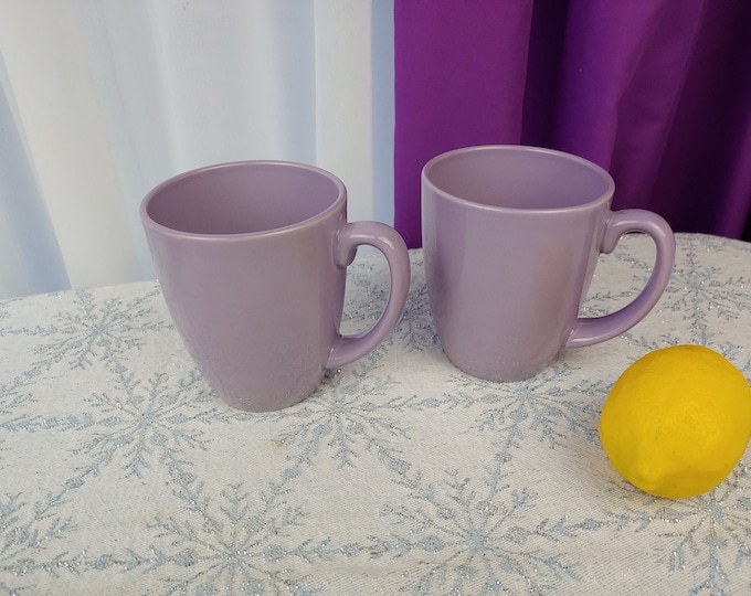 Corelle Lilac Lavendar Ceramic Mugs Set of 2 Light Purple Stoneware Handled Embossed Bottom  Rare Corning Corelle Coordinates Solid Color